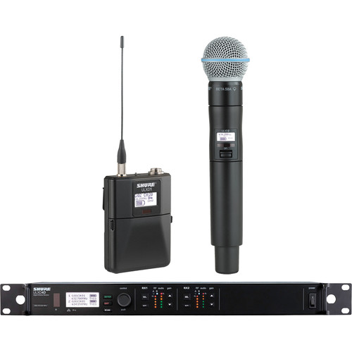 Shure ULXD124D Dual-Channel Combo Wireless System with BETA B58A Microphone (J50: 572 - 636 MHz)