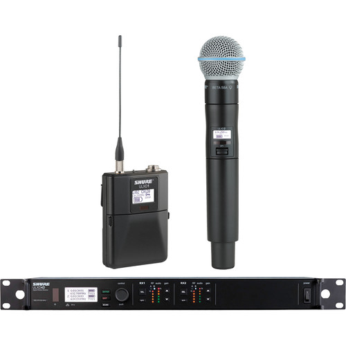 Shure ULXD124D Dual-Channel Combo Wireless System with BETA B58A Microphone (L50: 632 - 696 MHz)
