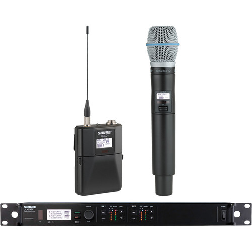 Shure ULXD124D Dual-Channel Combo Wireless System with Beta 87A Microphone - G50 (470 to 534 MHz)