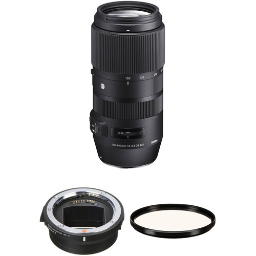 Sigma 100-400mm f/5-6.3 DG OS HSM Contemporary Lens for Canon EF and MC-11 Mount Converter/Lens Adapter for Sony E Kit