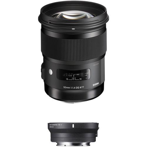 Sigma 50mm f/1.4 DG HSM Art Lens for Sigma SA and MC-11 Mount Converter/Lens Adapter for Sony E Kit