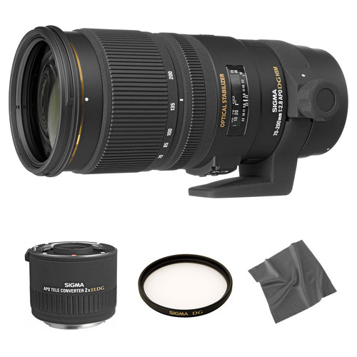 Sigma 70-200mm f/2.8 EX DG APO OS HSM Lens with 2x Teleconverter Kit for Canon EF
