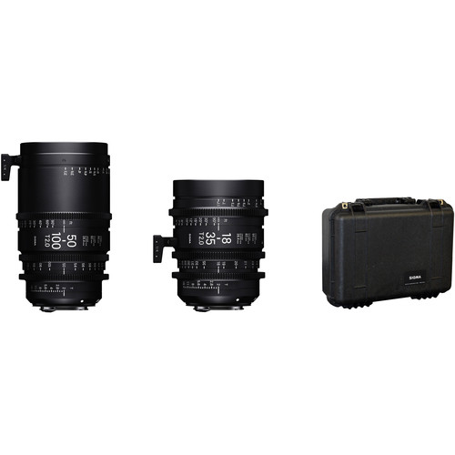 Sigma 18-35mm & 50-100mm T2 Fully Luminous High-Speed Zoom Lens Kit with Case (Sony E, Feet)
