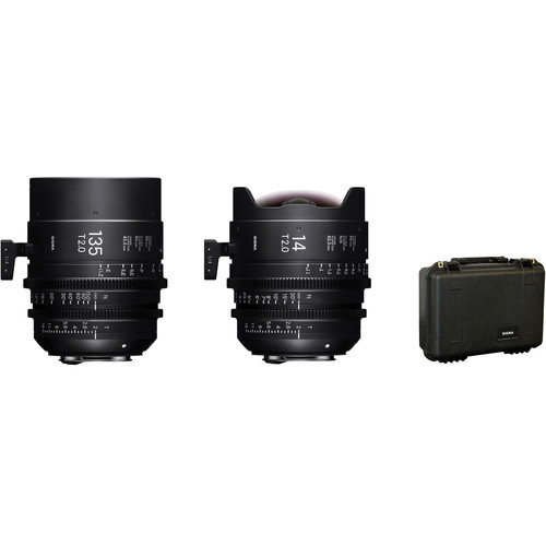 Sigma 14 & 135mm T2 FF High-Speed Cine Prime Set with Case (PL Mount)