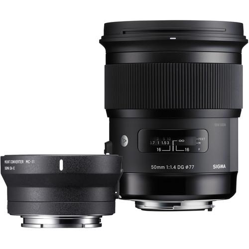 Sigma 50mm f/1.4 DG HSM Art Lens for Canon EF and MC-11 Mount Converter/Lens Adapter for Sony E Kit