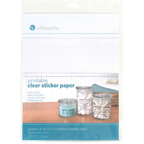 "silhouette Printable Clear Sticker Paper (8.5 x 11"", 8 Sheets)"