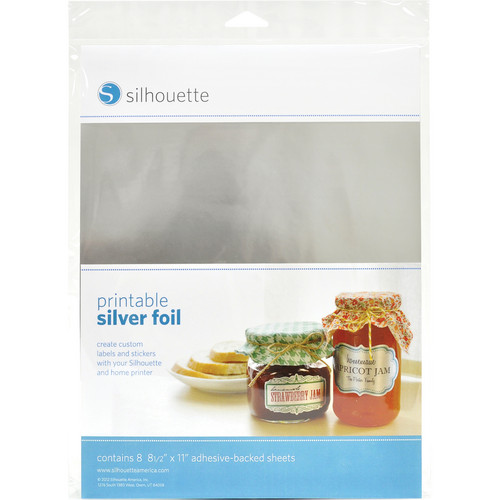 """Silhouette Printable Adhesive Silver Foil (8.5 x 11"""", 8 Sheets)"""