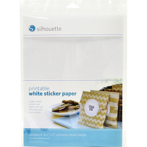 """Silhouette Printable Adhesive White Sticker Paper (8.5 x 11"""", 8 Sheets)"""