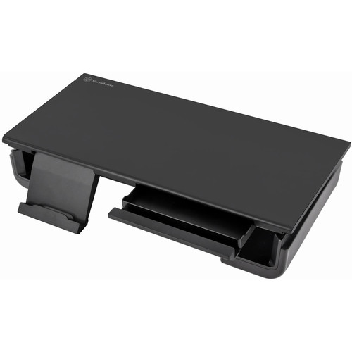 SilverStone Adjustable Monitor Stand with Drawers and Cell Phone Stand (Black)