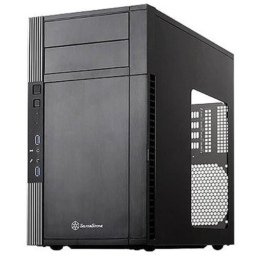 SilverStone Precision Series PS07 Micro-ATX Chassis with Windowed Side Panel (Black)