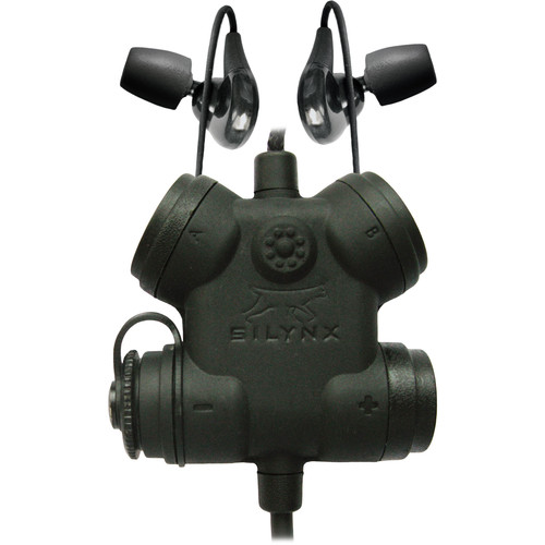 Silynx Communications Clarus FX2 Control Box with Fixed Dual In-Ear Headset & Fixed 3.5mm Smart Phone Connector (Black)