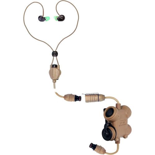 Silynx Communications Clarus Kit, In-Ear Headset, In-Ear Mic, MBITR/PRC117/152 6-Pin Cable Adapter (Tan)
