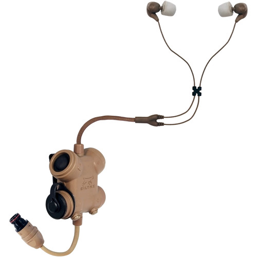 Silynx Communications Clarus XPR, Clarus Control Box, Fixed Dual In-Ear Headset with In-Ear Mic, QDC Radio Lead (Tan)