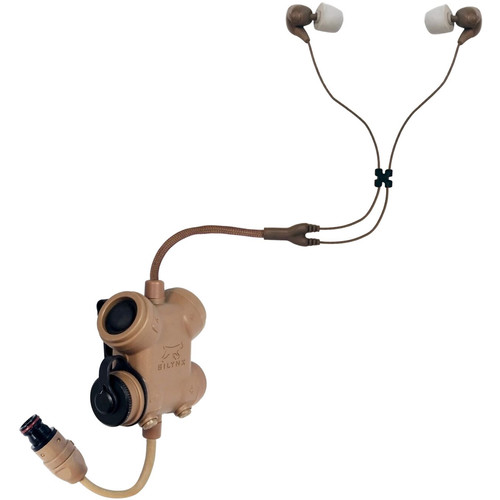Silynx Communications SCXPRFH-D-AC Clarus XPR PTT Control Box with Fixed Dual In-Ear Headset (Tan)