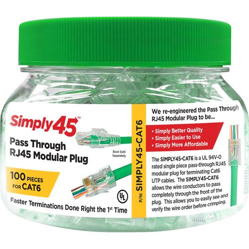 Simply45 Cat 6 UTP Unshielded RJ45 Pass-Through Modular Plug (100-Piece Jar)