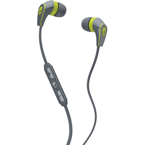 Skullcandy 50/50 Earbud Headphones (Grey and Hot Lime)