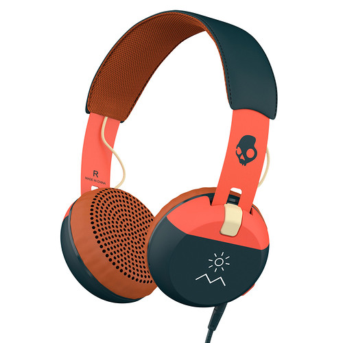 Skullcandy Grind Headphones with Single-Button TapTech and Mic (Orange/Navy)