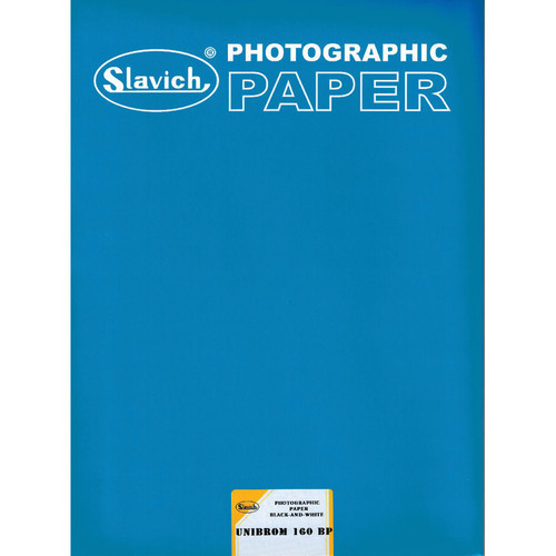 "Slavich Unibrom 160 BP Grade 2 FB Black & White Paper (Smooth Glossy, 11 x 14"", Single Weight, 25 Sheets)"