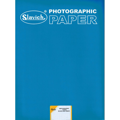 "Slavich 8 x 10"" Unibrom 160 PE Grade 3 RC Black & White Paper (100 Sheets, Smooth Glossy)"