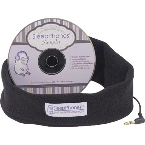 SleepPhones SleepPhones Night Headphones with Sleep Sampler CD (Extra Large, Midnight Black)