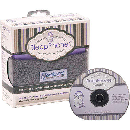 SleepPhones SleepPhones Night Headphones with Sleep Sampler CD (Extra Large, Soft Gray)