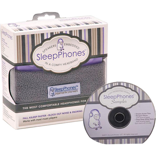 SleepPhones SleepPhones Night Headphones with Sleep Sampler CD (One Size Fits Most, Soft Gray)