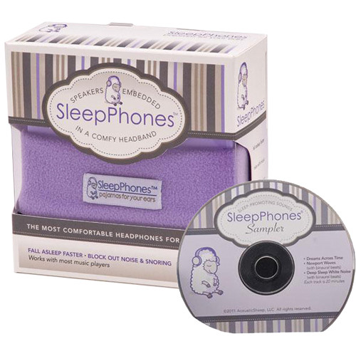 SleepPhones SleepPhones Night Headphones with Sleep Sampler CD (One Size Fits Most, Quiet Lavender)