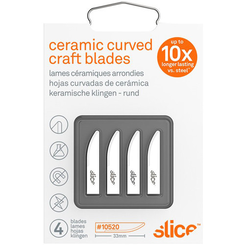 Slice 10520 Ceramic Craft Blades (Curved-Edge, Rounded Tip, Pack of 4)