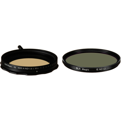 SLR Magic 52mm Self-Locking Variable Neutral Density 0.4 to 1.8 and 62mm Solid Neutral Density 1.2 Image Enhancer Filter Kit