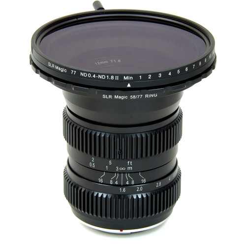 SLR Magic 12mm T1.6 Lens with Step-Up Ring and 77mm Variable ND (MFT Mount)