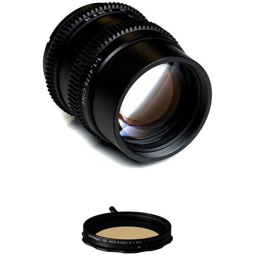 SLR Magic Cine 75mm f/1.4 FE Lens with Variable Neutral Density Filter Kit for Sony E-Mount