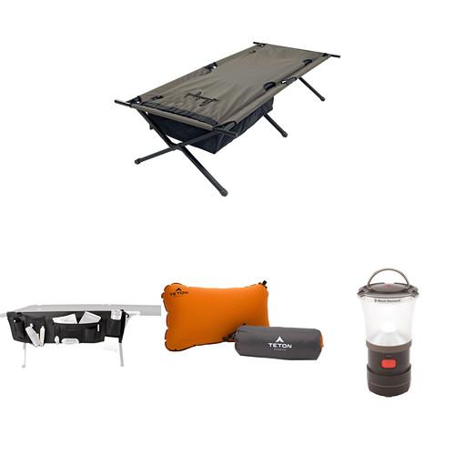 Slumberjack Big Lux Cot Kit with Organizer, Pillow & LED Camp Lantern