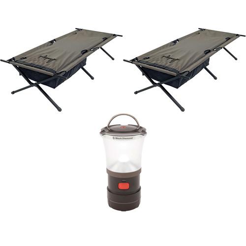 Slumberjack Big Lux Cots (2) Kit with LED Camp Lantern
