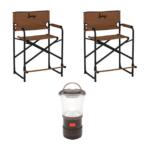Slumberjack Big Tall Steel Chairs (2) with LED Camp Lantern Kit