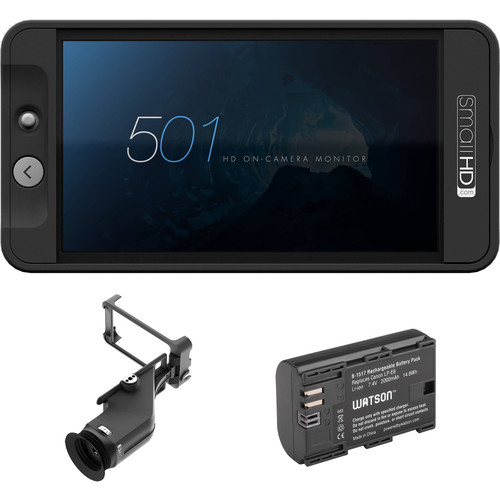 SmallHD 501 HDMI On-Camera Monitor, Sidefinder, and Battery Kit