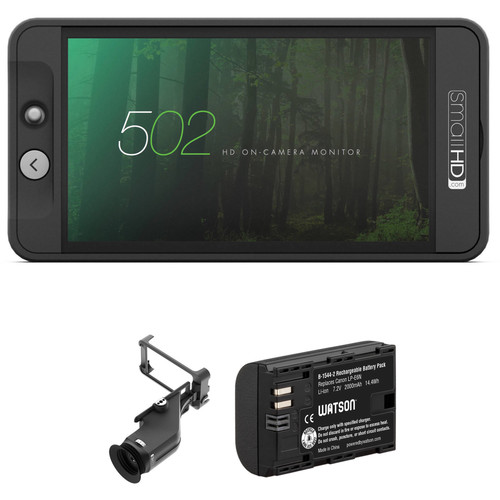 SmallHD 502 HDMI & HD-SDI On-Camera Monitor, Sidefinder, and Battery Kit