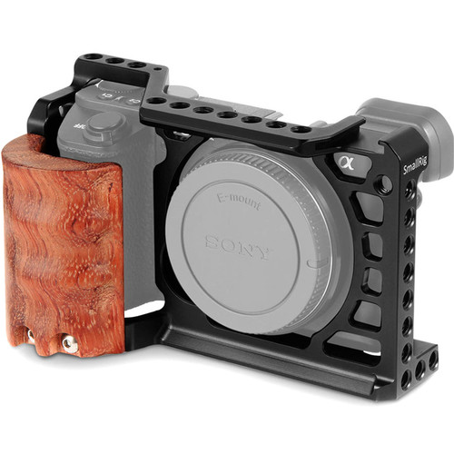 SmallRig 2097 Camera Cage Kit with Wooden Grip for Sony a6500
