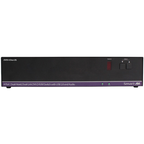 Smart-AVI DVN-4Duo-DLS DVI-D KVM Switch with USB 2.0 Sharing and Audio Support (4-Port, Dual Display)