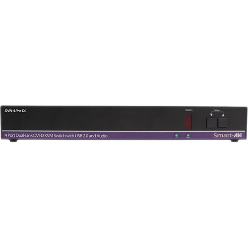 Smart-AVI DVN-4Pro-DLS DVI-D KVM Switch with USB 2.0 Sharing and Audio Support (4-Port, Single Display)