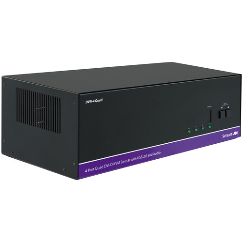 Smart-AVI DVN-4Quad 4-Port Dual Display DVI-D KVM Switch with USB 2.0 Sharing
