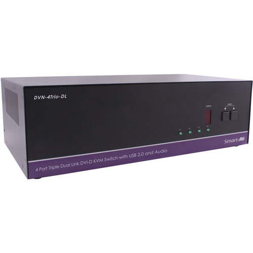 Smart-AVI DVN-4Trio-DLS DVI-D KVM Switch with USB 2.0 Sharing and Audio Support (4-Port, Triple Display)