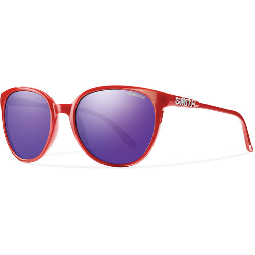 Smith Optics Cheetah Women's Sunglasses with Purple Sol-X Mirror Lenses (Red Frames)