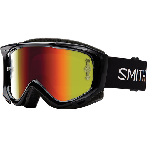 Smith Optics Medium-Fit Fuel V.2 Sweat XM Off Road Goggles (Black Frame, Red Mirror Lens)