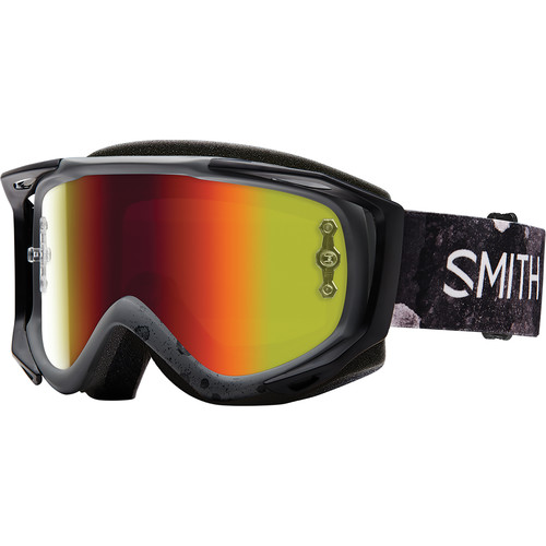 Smith Optics Medium-Fit Fuel V.2 Sweat XM Off Road Goggles (Bleached Frame, Red Mirror Lens)