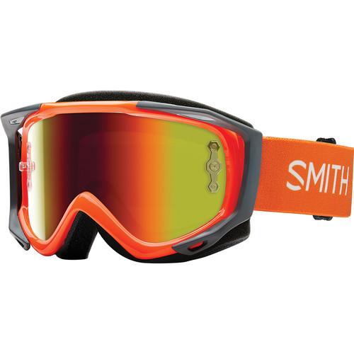 Smith Optics Medium-Fit Fuel V.2 Sweat XM Off Road Goggles (Orange Frame, Red Mirror Lens)