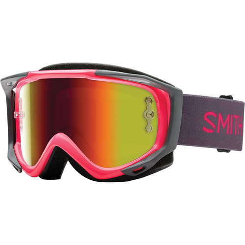 Smith Optics Medium-Fit Fuel V.2 Sweat XM Off Road Goggles (Pink Frame, Red Mirror Lens)