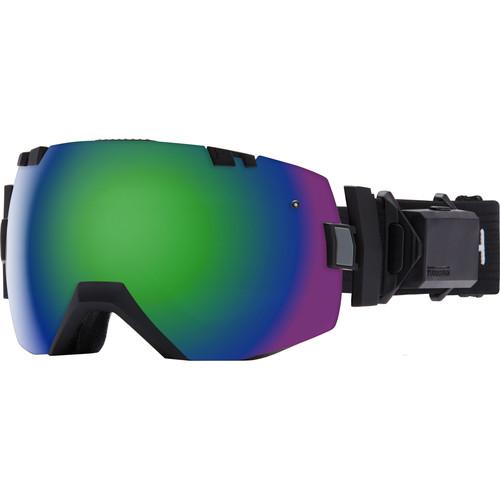 Smith Optics Medium/Large-Fit I/O X Turbo Fan Snow Goggle (Black Frame, Green Sol-X Mirror/Red Sensor Mirror Lens)