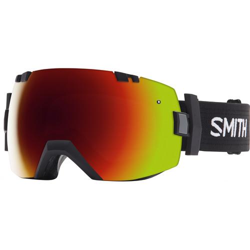 Smith Optics Medium/Large-Fit I/O X Snow Goggle (Black Frame, Red Sol-X Mirror/Blue Sensor Mirror Lens)