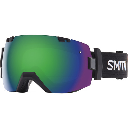 Smith Optics Medium/Large-Fit I/O X Snow Goggle (Black Frame, Green Sol-X Mirror/Red Sensor Mirror Lens)