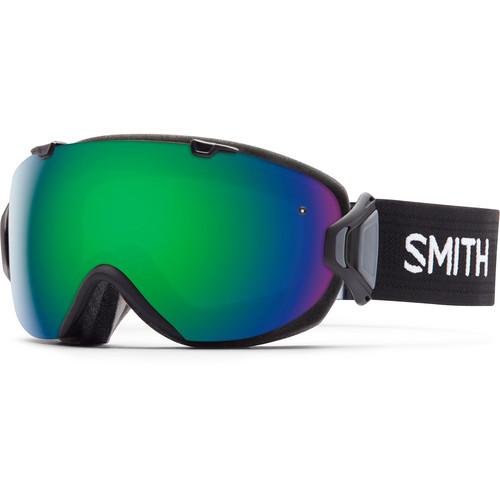 Smith Optics Women's Medium-Fit I/O S Snow Goggle (Black Frame, Green Sol-X Mirror/Red Sensor Mirror Lens)